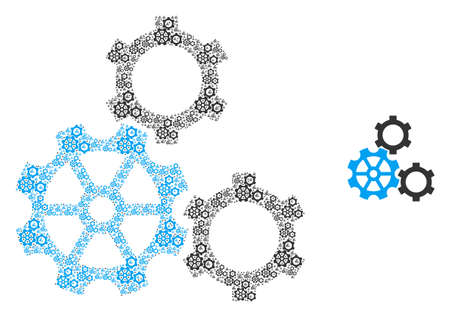 Gears icon fractal is done of scattered itself gears items. Fractal vector mosaic of gears items.  イラスト・ベクター素材