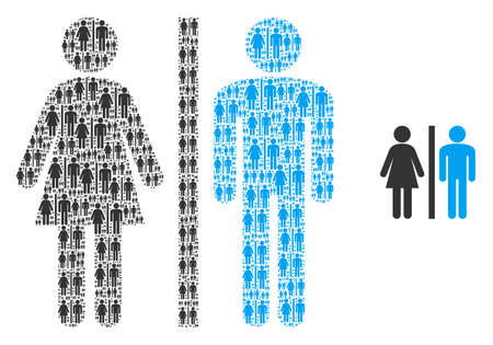 WC persons icon fractal is designed of random itself WC persons pictograms. itself vector composition of WC persons elements.