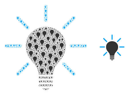 Light bulb icon composition is formed of randomized fractal light bulb pictograms. self vector collage of light bulb pictograms.