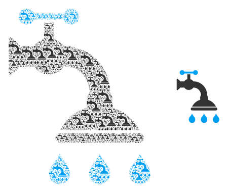 Shower tap icon fractal is composed from random fractal shower tap parts. Fractal vector collage from shower tap items.  イラスト・ベクター素材