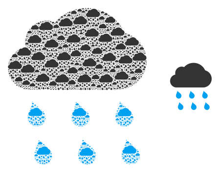 Rain cloud icon mosaic is formed of scattered recursive rain cloud elements. Recursive vector collage from rain cloud parts.  イラスト・ベクター素材