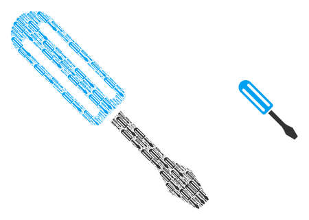 Screwdriver icon fractal is composed from repeating fractal screwdriver parts. Recursive vector composition of screwdriver icons.