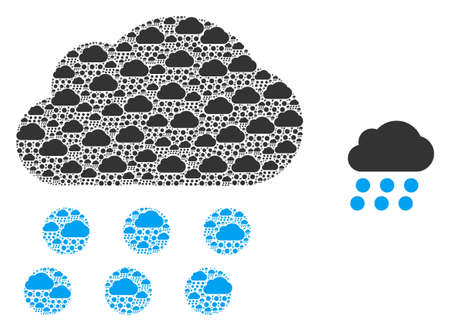 Rain cloud icon fractal is made of repeating fractal rain cloud elements. Fractal vector composition of rain cloud parts.