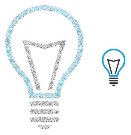 Lamp bulb icon mosaic is made of random recursive lamp bulb elements. self vector mosaic of lamp bulb parts.