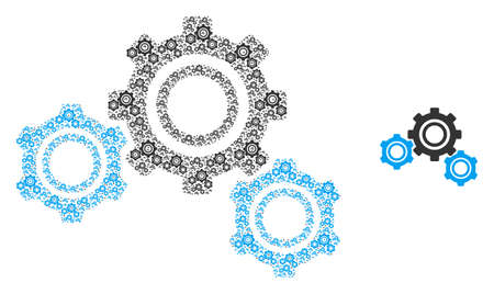 Gears icon fractal is formed from scattered fractal gears pictograms. Fractal vector collage of gears elements. Vektoros illusztráció