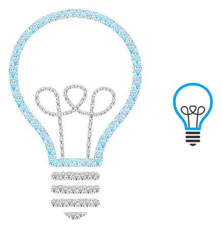 Lamp bulb icon fractal is designed of randomized recursive lamp bulb pictograms. Recursion vector combination of lamp bulb pictograms.  イラスト・ベクター素材