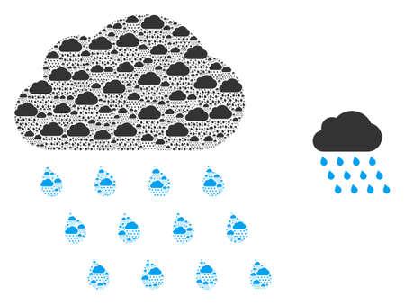 Rain cloud icon fractal is designed from random recursive rain cloud items. Recursive vector mosaic from rain cloud items.