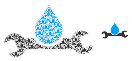 Plumbing icon collage is constructed of random itself plumbing items. Fractal vector combination of plumbing items.
