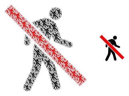 Stop walking pedestrian icon mosaic is organized with repeating fractal stop walking pedestrian pictograms. Fractal vector mosaic of stop walking pedestrian icons.