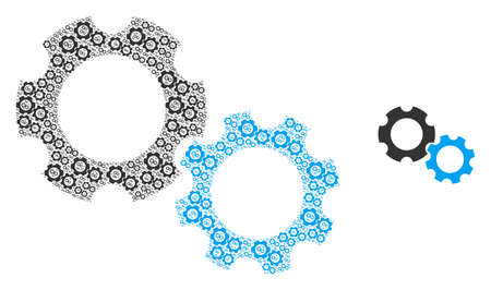 Gears icon mosaic is created from repeating itself gears parts. Recursion vector mosaic from gears parts.