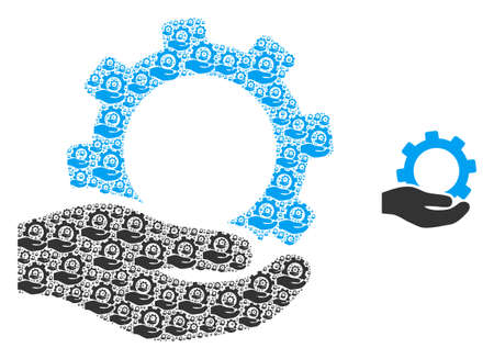 Service icon mosaic is designed of randomized fractal service pictograms. Fractal vector mosaic for service items. 矢量图像