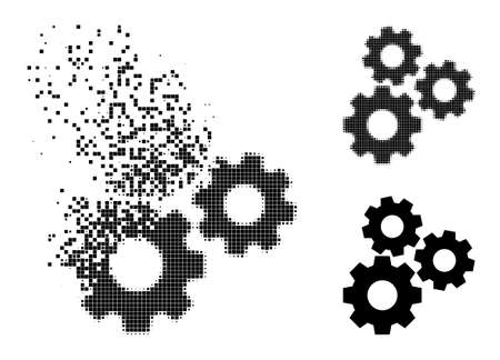Dispersed dot gear mechanism icon with destruction effect, and halftone vector icon. Pixel dematerialization effect for gear mechanism reproduces speed and movement of cyberspace items. Vetores