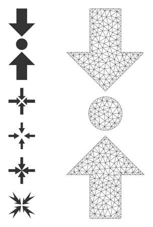 Mesh polygonal pressure vertical icon with simple pictograms. Vector carcass mesh polygonal pressure vertical. Linear carcass 2D mesh in vector format.