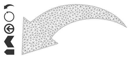 Mesh polygonal undo icon with simple symbols created from undo vector illustration. Carcass mesh polygonal undo. Linear carcass 2D mesh in vector format.