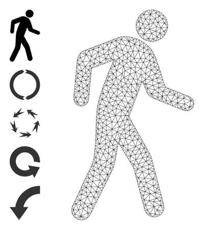 Mesh polygonal pedestrian icon with simple carcass created from pedestrian vector graphics. Carcass mesh polygonal pedestrian. Wire carcass flat mesh in vector format.
