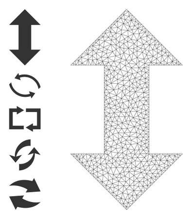 Mesh polygonal vertical exchange arrows icon with simple glyphs created from vertical exchange arrows vector illustration. Carcass mesh polygonal vertical exchange arrows. Wire carcass 2D mesh in vector format. 矢量图像
