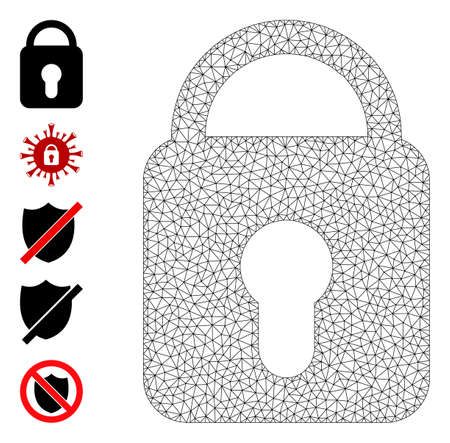 Mesh polygonal locked icon with simple glyphs created from locked vector graphics. Frame mesh polygonal locked. Wire frame 2D mesh in vector format. 矢量图像