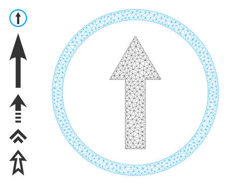 Mesh network up rounded arrow icon with simple glyphs created from up rounded arrow vector graphics. Frame mesh polygonal up rounded arrow. Linear frame flat mesh in vector  format.