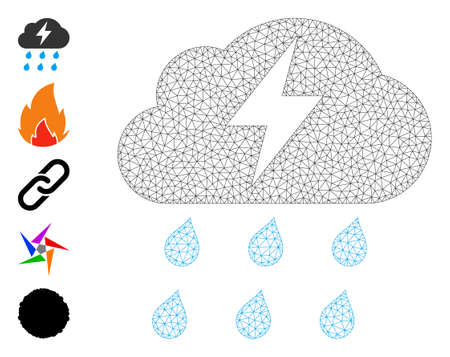 Mesh polygonal thunderstorm icon with simple carcass created from thunderstorm vector graphics. Frame mesh polygonal thunderstorm. Linear carcass 2D mesh in vector format. 矢量图像