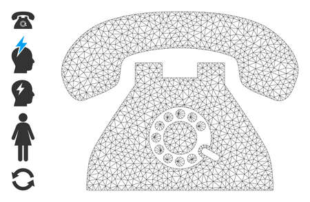 Mesh polygonal pulse phone icon with simple carcass created from pulse phone vector graphics. Carcass mesh polygonal pulse phone. Wire carcass flat network in vector  format.