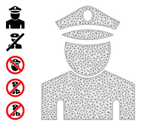 Mesh polygonal policeman icon with simple symbols created from policeman vector graphics. Frame mesh polygonal policeman. Wire frame flat mesh in  vector format.