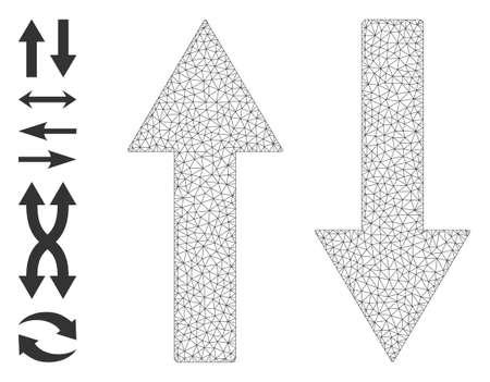 Mesh polygonal vertical flip arrows icon with simple glyphs created from vertical flip arrows vector graphics. Frame mesh polygonal vertical flip arrows. Linear frame flat mesh in vector format. 矢量图像