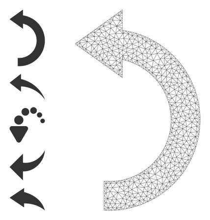 Mesh net rotate left icon with simple carcass created from rotate left vector graphics. Carcass mesh polygonal rotate left. Linear frame 2D mesh in  vector format.