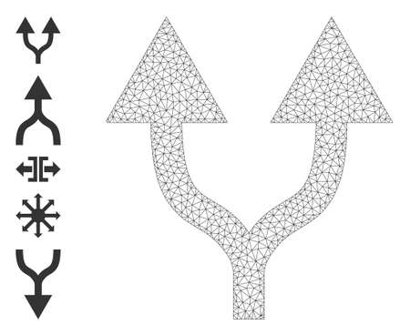 Mesh polygonal split arrows up icon with simple glyphs created from split arrows up vector illustration. Carcass mesh polygonal split arrows up. Wire carcass 2D mesh in vector   format.