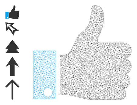 Mesh network thumb up icon with simple symbols created from thumb up vector graphics. Frame mesh polygonal thumb up. Wire frame flat network in   vector format.