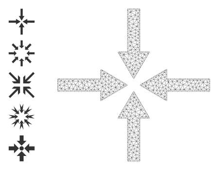 Mesh network impact arrows icon with simple symbols created from impact arrows vector graphics. Frame mesh polygonal impact arrows. Wire frame 2D network in vector format. 矢量图像