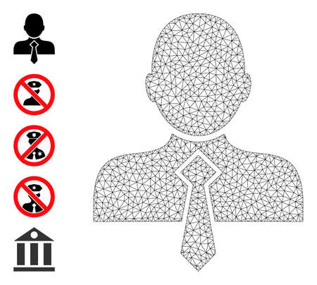 Mesh net office man icon with simple glyphs created from office man vector graphics. Frame mesh polygonal office man. Wire frame flat mesh in vector format.