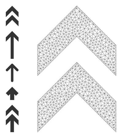Mesh net shift up icon with simple carcass created from shift up vector illustration. Carcass mesh polygonal shift up. Wire carcass 2D mesh in vector   format.