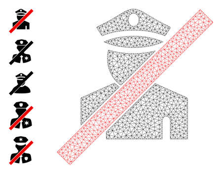 Mesh polygonal wrong policeman icon with simple pictograms. Vector carcass mesh polygonal wrong policeman. Wire carcass flat mesh in  vector format.