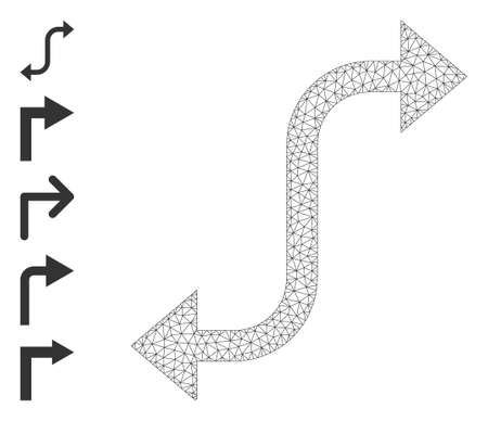 Mesh network opposite bend arrow icon with simple glyphs created from opposite bend arrow vector graphics. Carcass mesh polygonal opposite bend arrow. Wire carcass 2D network in vector   format. 矢量图像