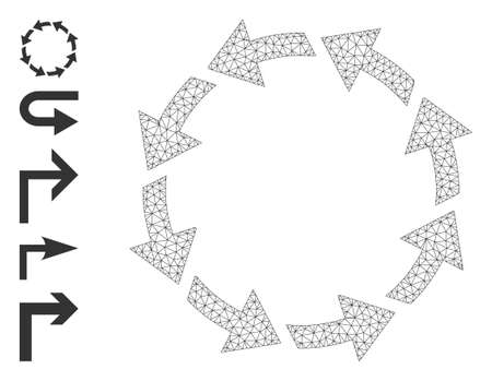 Mesh web rotate ccw icon with simple glyphs created from rotate ccw vector graphics. Carcass mesh polygonal rotate ccw. Linear carcass 2D mesh in vector format.