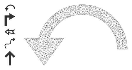 Mesh net rotate ccw icon with simple glyphs created from rotate ccw vector graphics. Frame mesh polygonal rotate ccw. Wire frame flat mesh in vector format. 矢量图像