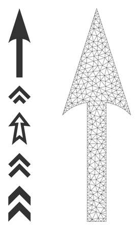Mesh polygonal sharp arrow up icon with simple carcass created from sharp arrow up vector graphics. Frame mesh polygonal sharp arrow up. Linear frame 2D mesh in vector  format.