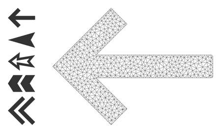 Mesh web left arrow icon with simple symbols created from left arrow vector graphics. Frame mesh polygonal left arrow. Wire frame flat mesh in vector  format.