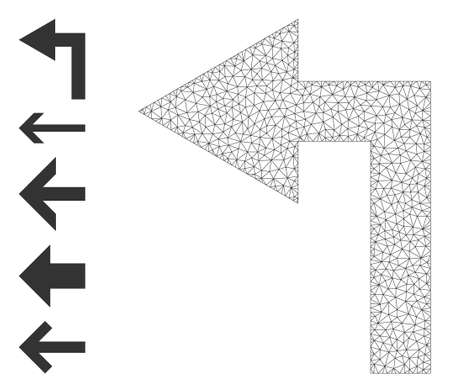 Mesh polygonal turn left icon with simple carcass created from turn left vector graphics. Frame mesh polygonal turn left. Wire frame 2D mesh in vector  format. 矢量图像