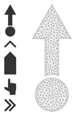 Mesh net pull up icon with simple symbols created from pull up vector graphics. Frame mesh polygonal pull up. Wire frame flat mesh in  vector format.