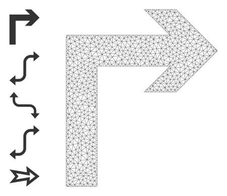 Mesh network turn right icon with simple structure created from turn right vector graphics. Frame mesh polygonal turn right. Wire frame 2D mesh in vector  format.
