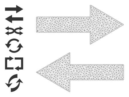 Mesh net horizontal flip arrows icon with simple carcass created from horizontal flip arrows vector graphics. Carcass mesh polygonal horizontal flip arrows. Linear carcass flat mesh in vector format.