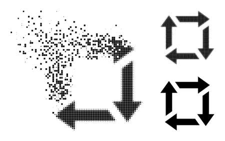 Burst dotted recycle icon with destruction effect, and halftone vector icon. Pixelated destruction effect for recycle reproduces speed and motion of cyberspace objects.