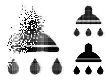 Dissipated dot shower glyph with wind effect, and halftone vector composition. Pixelated dispersing effect for shower reproduces speed and motion of cyberspace concepts.
