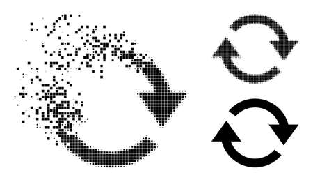 Broken pixelated refresh glyph with destruction effect, and halftone vector image. Pixelated dematerialization effect for refresh gives speed and movement of cyberspace objects.