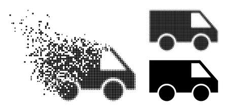 Disintegrating pixelated van glyph with destruction effect, and halftone vector symbol. Pixelated dispersing effect for van gives speed and movement of cyberspace things.