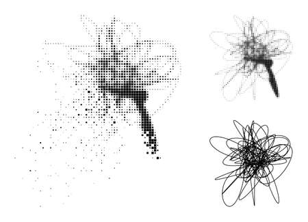 Dispersed pixelated string mess glyph with wind effect, and halftone vector icon. Pixelated mist effect for string mess reproduces speed and movement of cyberspace items.