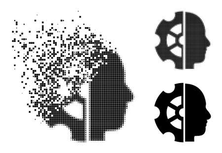 Erosion pixelated intellect icon with destruction effect, and halftone vector composition. Pixelated destruction effect for intellect reproduces speed and movement of cyberspace objects.