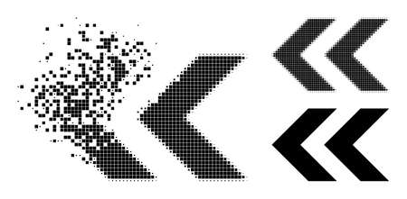 Moving pixelated shift left icon with destruction effect, and halftone vector pictogram. Pixelated explosion effect for shift left shows speed and movement of cyberspace abstractions.