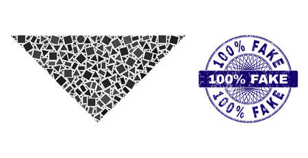 Geometric collage arrowhead down, and 100% Fake textured seal imitation. Blue seal contains 100% Fake tag inside round shape. Vector arrowhead down collage is formed of random round.